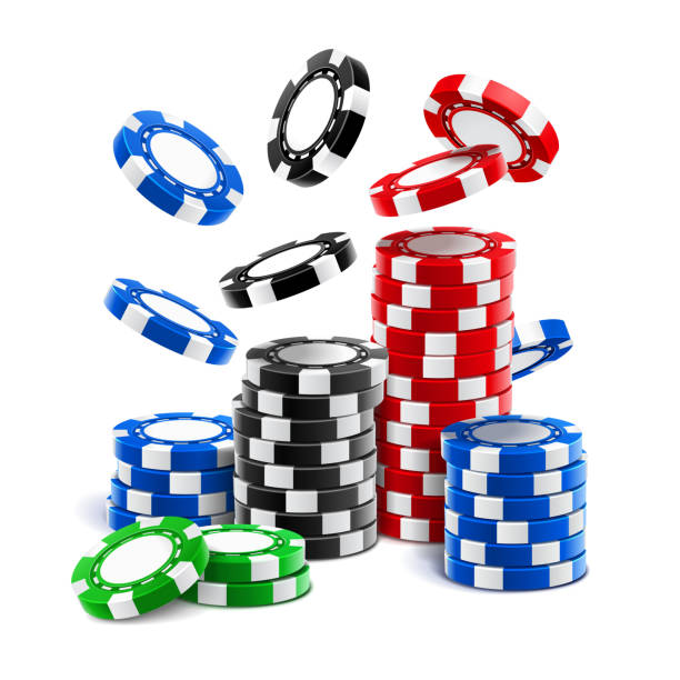 Falling casino chips or stack of realistic gambling blank tokens, betting club 3d cash or plastic money for roulette, blackjack and sport poker. Winning and fortune, gamble and luck, chance and risk